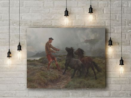 Rosa Bonheur: A Ghillie and Two Shetland Ponies. Fine Art Canvas.
